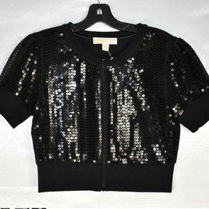 Michael Kors Women's Sequin Jacket, Black, Size XS